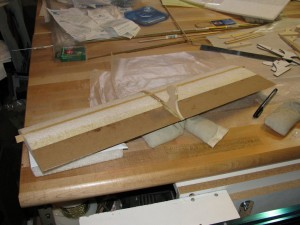 Shot of a prototype Push-E Cat V5 wing with kraft paper trailing edge applied